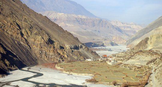 The Kali Gandaki River and Rice field near Kagbeni